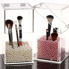 HQdeal New Acrylic Makeup Cosmetic Brushes Holder Organiser Storage Box Clear with Lid Dustproof