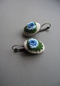Embroidered earrings with roses (color V) by ZoZulkaart on Etsy