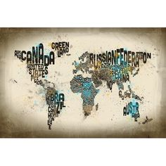 """East Urban Home World Map Series: Drops Of Typography by Michael Tompsett Textual Art on Wrapped Canvas Size: 40"""" H x 60"""" W x 1.5"""" D"""