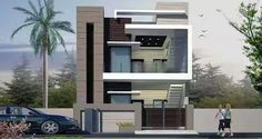 front elevation designs for duplex houses in india Duplex House Design, House Front Design, Modern House Design, Independent House, Front Elevation Designs, House Elevation, Style At Home, Indian House Plans, House Map