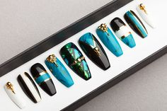 Fabulous Turquoise Press on Nails  Shattered Glass
