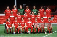 Sport, Football, Liverpool FC Team-Group 1984-85 Season, The Liverpool team pose together for a group photograph with the Manager of the Year, Milk Cup, League Championship, and European Cup trophies, Back Row L-R: Michael Robinson, Gary Gillespie, Bob Bolder, Jan Molby, Bruce Grobbelaar, Alan Hansen, and Mark Lawrenson, Middle Row L-R: Ronnie Moran, John Wark, Ronnie Whelan, Ian Rush, Steve Nicol, and Roy Evans, Front Row L-R: Sammy Lee, Phil Thompson, Phil Neal, Joe Fagan (Manager), Kenny…