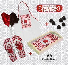 Dia das Mães - Customized For You  Coletivo Design - Avental Personalizado + Chinelo Personalizado + Bandeja com 2 Azulejos Personalizados + 2 Pirulitos de Chocolate + 6 Bombons