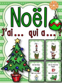 """Noël - jeu """"j'ai... qui a...?"""" - 30 cartes pour jouer et 2 versions incluses: avec et sans les mots. Jeu amusant idéal en grand groupe ou dans les centres de littératie."""