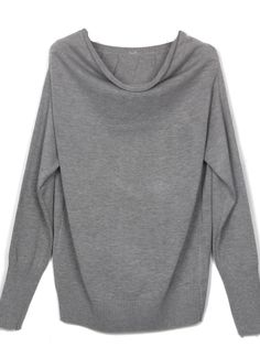 Light Grey Boat Neck Long Sleeve Batwing Pullovers Sweater
