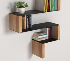 I love book shelves! Smart Furniture, Wood Furniture, Furniture Design, Bookcase Shelves, Wall Shelves, Book Shelves, Regal Design, Shelf Design, Wood Design