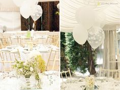 A wedding decorated in white and light green. The kids table was diferent with baloons instead of flowers