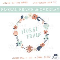 Floral Frame & Photo Overlay  Flower Clip Art by ShhMakerDesign, $12.00