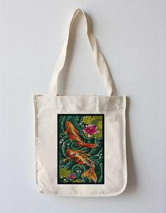 Tote Bag (Koi - Paper Mosaic - Lantern Press Artwork)