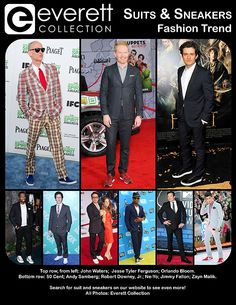 Top row, from left: John Waters; Jesse Tyler Ferguson; Orlando Bloom. Bottom row: 50 Cent; Andy Samberg; Robert Downey, Jr.; Ne-Yo; Jimmy Fallon; Zayn Malik. Search for suit and sneakers on our website to see even more! All Photos: Everett Collection