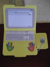 This cute craft can be used for many things.keyboard practice, making words, spelling practice, etc. Computer Classroom Decor, Classroom Organization, Color Menta, Spelling Practice, Computer Set, Making Words, Digital Technology, Teaching Resources, Teaching Ideas