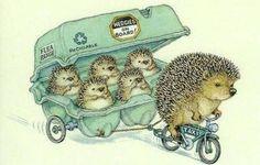 Whimsical watercolour hedgehog bike family illustration art capitu-65:  by Peter Cross