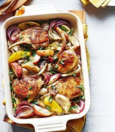 An autumnal recipe of pork cutlets with roasted apple and fennel - perfect for a midweek meal.