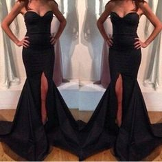 black prom dress, long prom dress, sexy prom dress, 2016 prom dress, mermaid prom dress