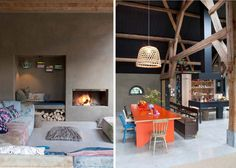 dutch farmhouse, cabin, barn, orange, exposed beams
