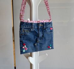 Upcycled jeans bag girls denim crossbody by RobynFayeDesigns