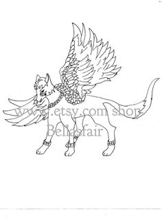 Hand Drawn Mythical winged Wolf coloring coloring by Bellasfair