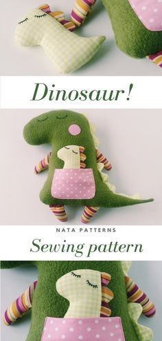 Dinosaur sewing pattern PDF Animal Doll Stuffed Dinosaur tutorial Plush Dinosaur birthday party Stuf - Diy Gift For Girls Ideen Homemade Stuffed Animals, Sewing Stuffed Animals, Stuffed Animal Patterns, Stuffed Animal Diy, Dinosaur Stuffed Animal, Pet Toys, Kids Toys, Sewing Crafts, Sewing Projects