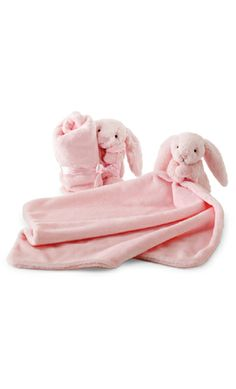 """Lull your little one to sleep with this soft plush bunny & attached blankie (18""""x13"""") . Soft, snuggly and warm this ...Price - $18.00 - RVAFekeb"""