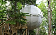 Parks Canada installs new cocoon tent six metres from the ground
