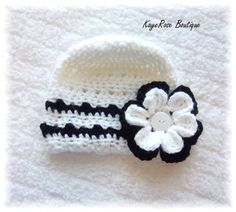 Baby Crochet Flower Hat Black White Stripes 3-6 by Sockmonkey7