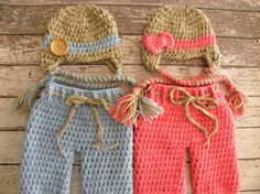 Twin Boy/Girl Crochet baby boy button hat and bow hat and pants in oatmeal, pink and baby blue. Newborn twin photo prop pants set. on Etsy, $70.00