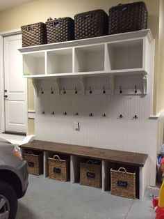 Garage storage ideas for ladders. Best way to organise garage storage. Garage storage ideas for ladders. Best way to organise garage storage. Garage Lockers, Mud Room Garage, Garage Floor Paint, Garage House, Garage Entry, Garage Workbench, Garage Mudrooms, Garage Bench, Garage Signs