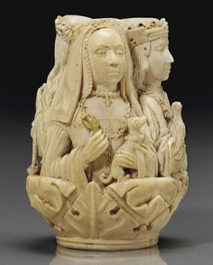 French or Flemish. Carved ivory rosary bead depicting the justice and a royal couple. Religious Images, Religious Art, Momento Mori, Statues, Medieval Paintings, Renaissance, Bone Carving, Medieval Art, Ivoire