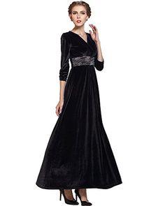 Medeshe Black Formal Long Velvet Dress Evening Party Gown Incl Plus Size