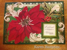 Poinsettia Christmas card made with Anna Griffin products