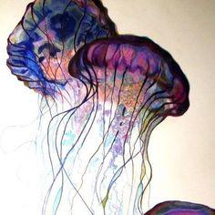 meduse- Love to create with glass Jellyfish Painting, Jellyfish Drawing, Jellyfish Tattoo, Beautiful Sea Creatures, Ocean Creatures, Art Plastique, Painting Inspiration, Watercolor Paintings, Watercolors
