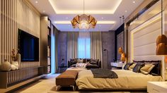 Glamorous-bedroom-amber-origami-chandelier-grey-and-chiffon-curtains-beige-mat Glamorous-bedroom-amber-origami-chandelier-grey-and-chiffon-curtains-beige-mat