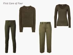A 4 by 4 Capsule Wardrobe in Teal, Wine, Olive and Camel - The Vivienne Files Teal Cardigan, Olive Jeans, Chevron Scarves, The Vivienne, Cropped Trousers, Red Sweaters, Cardigans, Capsule Wardrobe, Autumn