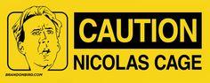 """BrandonBird.com """"Caution Nicolas Cage"""" Bumper Sticker #Stickers"""