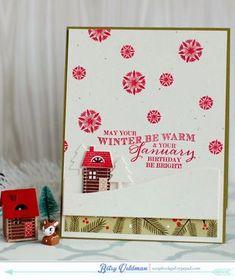 January Birthday Card by Betsy Veldman for Papertrey Ink (December 2014)