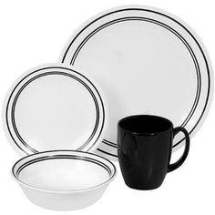 #3: Corelle Livingware 16-Piece Dinnerware Set, Service for 4, Classic Cafe Black.