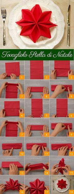 Napkin Folds - 15 Folding Tutorials for Special Occasions Christmas Tree Napkin Fold, Christmas Napkins, Christmas Star, Christmas Carol, Amazon Christmas, Origami Christmas, Halloween Christmas, Christmas Ideas, Christmas Table Settings