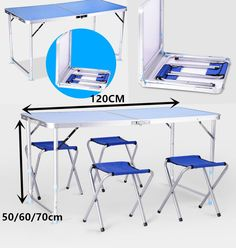 PORTABLE FOLDING TABLE WITH 4 CHAIRS SET FOR CAMPING PARTY PICNIC GARDEN DINING in Sporting Goods, Camping & Hiking, Camping Tables & Chairs   eBay!