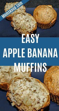 Apple Banana Muffins | 1001 Banana Apple Recipes, Apple Banana Muffins, Healthy Banana Recipes, Healthy Apple Desserts, Healthy Banana Muffins, Banana Dessert Recipes, Baked Banana, Recipe Using Ripe Bananas, Ripe Banana Recipe