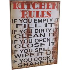 Retro Style Wooden Plaque Kitchen Rules