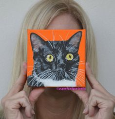 Meow, are u looking to get a gift? Cat Portrait Acrylic Cat Painting Custom cat by PopArtPetPortraits, $70.00