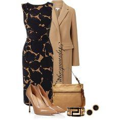 """Women's Black/Camel Shadow Rose Dress"" by arjanadesign on Polyvore"