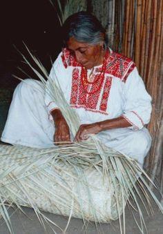 Weaving a petate (palm mat)