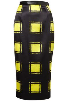 Topshop Yellow Check Pencil Skirt. HOT!!