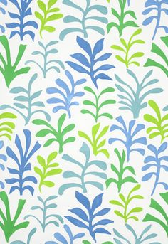 Fabric | Ode to Matisse in Leaf / Ocean | Schumacher  What about this for drapes, Laur?