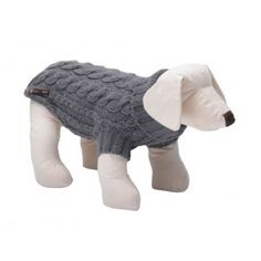 Wilmot Grey Cable Knit Dog Sweater