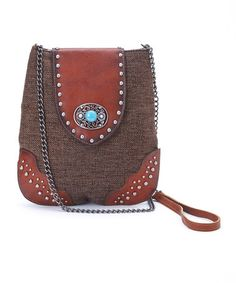 Another great find on #zulily! Brown Stud Leather Crossbody Bag #zulilyfinds