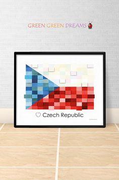 Czech Republic Flag Print Poster Wall art Czech Republic Europe flags printable download Home Decor Digital Print gift GreenGreenDreams