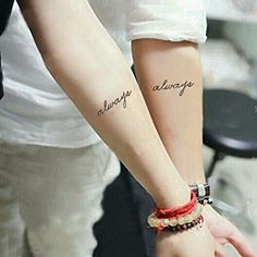 """Set of 2 Waterproof Temporary Tattoo Stickers Cute English Letters Always Designs Body Art Make Up Tool. High quality fashionable temporary tattoo, which looks like real. Size: 2.5"""" x 4.5"""". Quantity: 2 in one set. Easy to apply, lasts for 2--5 days. Produced in GMP standard factory,safe to use."""