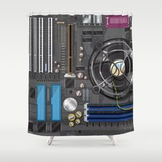 Computer Motherboard Shower Curtain